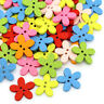 1000 New Wood Buttons Sewing Scrapbooking Flowers Shaped 2 Holes Mixed