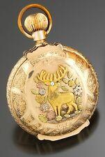 Waltham P.S. Bartlett 14K Multicolor Gold Buck Hunter Case Pocket Watch CA1884