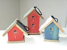 Lot of 3 Rustic Primitive Vintage Natural Wood Red Blue Birdhouse Xmas Ornaments