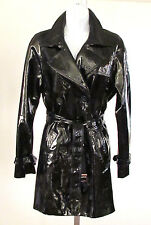 Ann Klein Black Real Patent Leather Double Breasted Belted Trench Coat Size.S