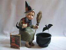 Bethany Lowe Little Girl Witch Halloween Figure  Cauldron Black Cat 2 piece