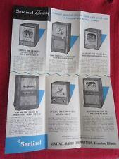1950 SENTINEL 414-TVW, 415-CVM, 413-TVM, 419-CVM, 420-TVM TELEVISION BROCHURE