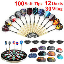 12Pcs Soft Tip Darts & 100 Extra Tips & 30 Tail Wing For Electronic Dartboard