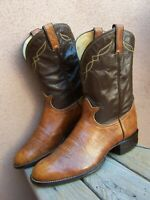 TONY LAMA Mens Cowboy Western Boots Cognac Tan Brown Leather Ranch Ropers 10.5D