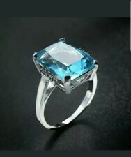 BRAND NEW 10.5 CT Aquamarine Ring~925 Sterling Silver~Size 7  ~Gift Bag Included