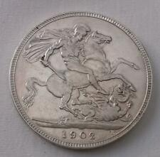 1902 Edward VII Crown Coin Silver Extra Fine