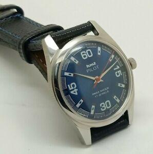 genuine hmt pilot hand winding men's steel blue dial 17j vintage india watch run