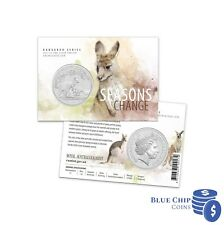 2017 UNC $1 Kangaroo Seasons Change 1oz Silver Frosted Coin on Card LOT 2