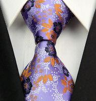 Brand New - Mens Tie - Wedding Lilac Purple Orange Pasiley - Floral Silk Paisley