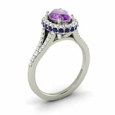 10K WHITE GOLD 1.80CTW AMETHYST, SAPPHIRE DIAMOND HALO SOLITAIRE ENGAGEMENT RING