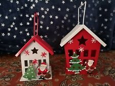 2 x Christmas Tea Light Holder Lanterns