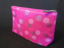 Clinique Makeup Cosmetic Bag Hot Pink Satin Silver Polka Dots Zippered Lined NEW