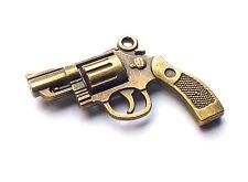 1 x pistolet détaillée de qualité bronze pendentif charme revolver, steampunk / gothique / police