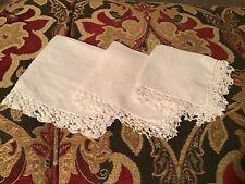 Vintage Lot 3 Crochet Edge White Hankies