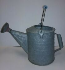 Vintage Antique Galvanized Watering Can with Rain Spout Head & Wooden Handle