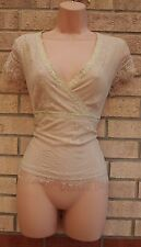 NEXT CREAM BEIGE FLORAL LACE SEQUIN BEADED RIBBON TUNIC BLOUSE TUNIC TOP 12 M