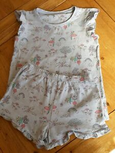 Girl's Next Shorts Pyjamas, Age 6-7, Pale Blue with Rainbow and Fairy Pattern