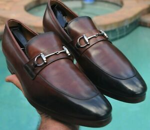 GUCCI Man's burnished redish brown Loafers shoes Gucci brand  Size 6.5  G Size