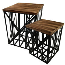Metall Beistelltisch mit Holz Deckel Drahtkorb Tisch Industrial Nachttisch