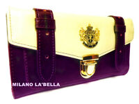 Black Purple Red Tan LYDC Designer Womens Vintage Satchel Purse Wallet Boxed