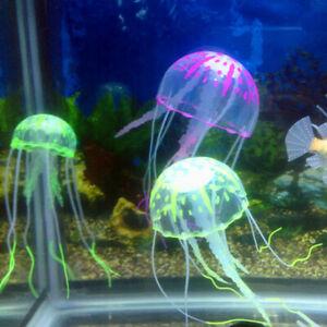 Random Artificial  Aquarium Jellyfish Ornament Decor Glowing Effect Fish Tank