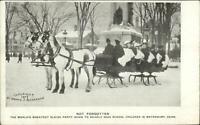 Waterbury CT School Children Sleigh Party c1905 Postcard