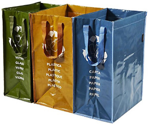 Perfetto Set of 3 Pieces Container Recycle Bag, Multi-Coloured, One Size