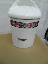 Vintage pot epices faience art deco fleurs 50.60's deco cuisine SUCRE