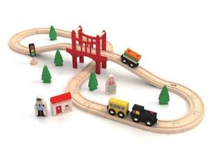 🚦Wooden Train Set🚂 For Kids Children Toy Play Tracks Passenger Car 39 Pcs