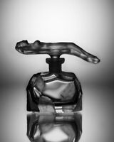 ART DECO Glass Flacon Crystal Czech Bohemian Perfume Bottle Hand Cut Nude Woman