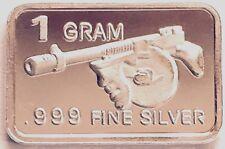 Silver lot: New mint (1) Gram .999 PURE SOLID SILVER BULLION * TOMMY GUN BAR *