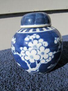 Antique Chinese Porcelain Blue & White Prunus Ginger Jar Xangxi Double Ring