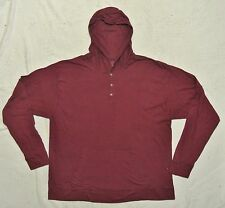 Big Mens Hanes ComfortBlend Long Sleeve Hooded Henley Neck Tee 2XL Burgundy NEW