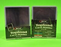 50 TOPLOAD CARD HOLDERS - WHITE BORDER,FOR TRADING CARDS,12M 3 X 4 RIGID PLASTIC