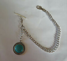Silver tone single side watch chain with resin turquoise & tibetan silver fob