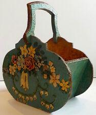 DECORATIVE BAROQUE PAINTED/APPLIQUE FLORAL FOLK ART WOODEN BASKET - 19TH CENTURY