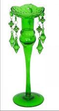 Kerzenständer Set zwei Glas Lüster Tropfenleuchter grün Kerzenleuchter Weihnacht