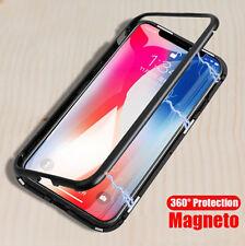 Magnetic Adsorption Métal Coque Pour iPhone X 7 8 Plus Verre Trempé Back Housse