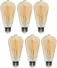 [6 Pack] LED Edison Filament ST21 6W 60W 120V Dimmable E26 2200K Warm Amber