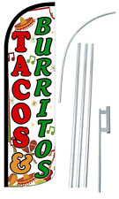 TACOS & BURRITOS Flag Kit 3' Wide Windless Swooper Feather Advertising Sign