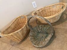3 Decorative Hand-woven Wicker Storage Cloths Magazine Newspaper Baskets