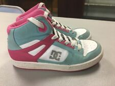 DC REBOUND GIRLS YOUTH SIZE 6 MID TOP PINK Teal ATHLETIC SKATE SHOES AA19