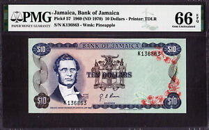 Jamaica 10 Dollars 1960 ND (1970) Pick-57 GEM UNC PMG 66 EPQ