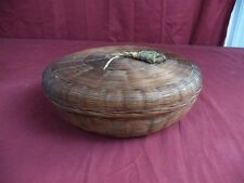 Antique Woven Sewing Basket and Contents including Needle Card made in Germany