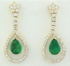 7.05 Carat Natural Emerald 14K Solid Yellow Gold Diamond Earrings
