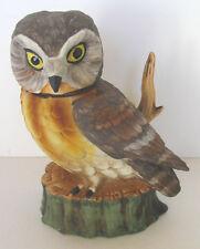 BABY SAW WHET OWL WITH LEMON YELLOW EYES SKI COUNTRY 1977 MINI DECANTER