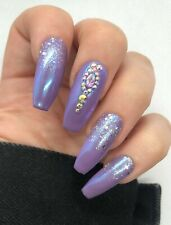 20Set Purple Mermaid Silver Glitter Crystal Hand Painted Press On Fake Nails