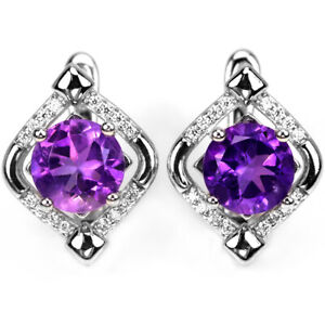 NATURAL AAA PURPLE AMETHYST ROUND & WHITE CZ STERLING 925 SILVER DROP EARRING