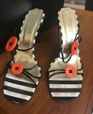CHRISTIAN LACROIX Button SANDALS Black Strappy HEELS Shoes Size 8.5