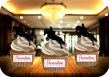 Show Jumping Silhouette 12 Edible STANDUP Cake Toppers Decoration Birthday Horse